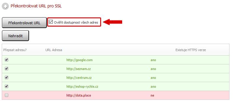 Ověření dostupnosti všech adres pro SSL v administraci Eshop-rychle.cz