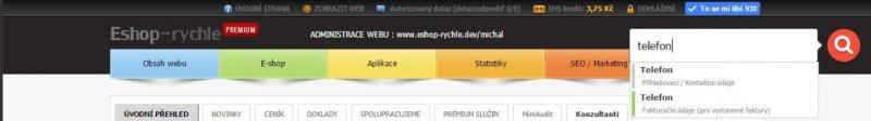 Našeptávač fulltextového vyhledávání v administraci Eshop-rychle