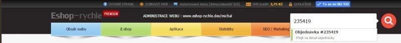 Fulltextového vyhledávání objednávek v administraci Eshop-rychle