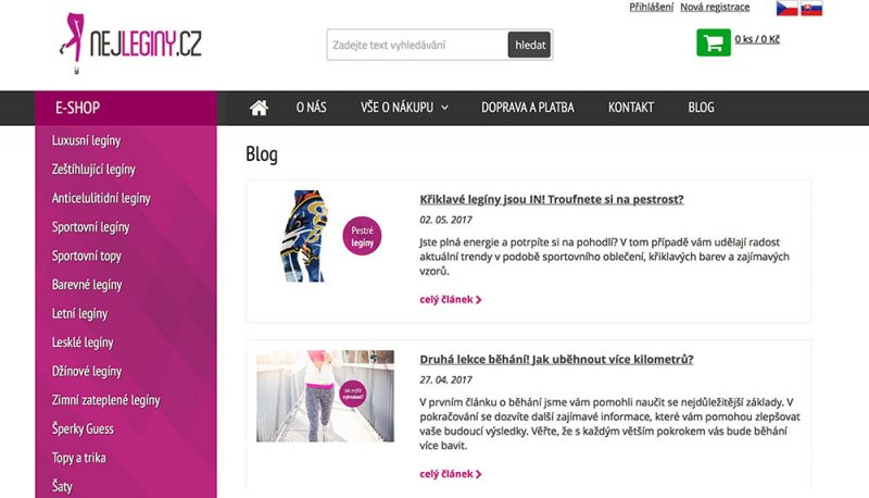 Blogové články na e-shopu