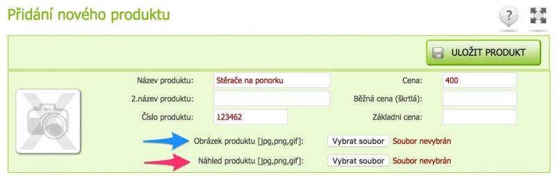 Přidání nového produktu v administraci Eshop-rychle