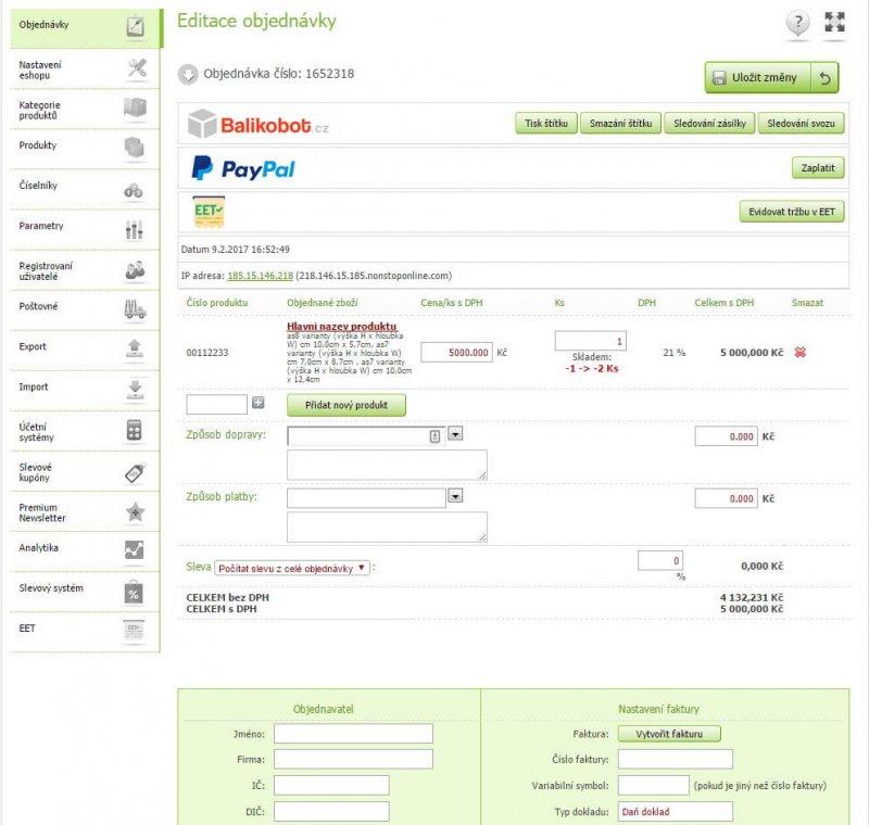 Editace vytvořené objednávky v administraci Eshop-rychle