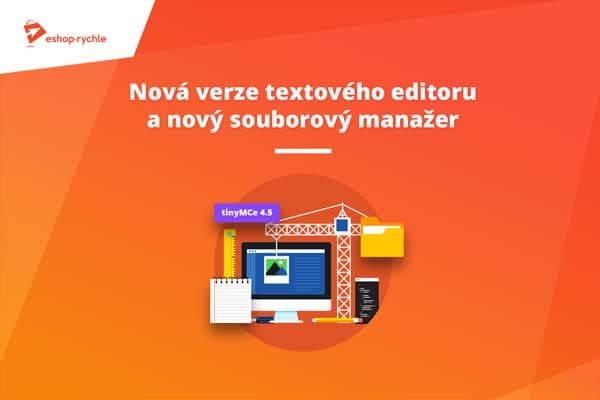 Nový TinyMCE editor a souborový manažer