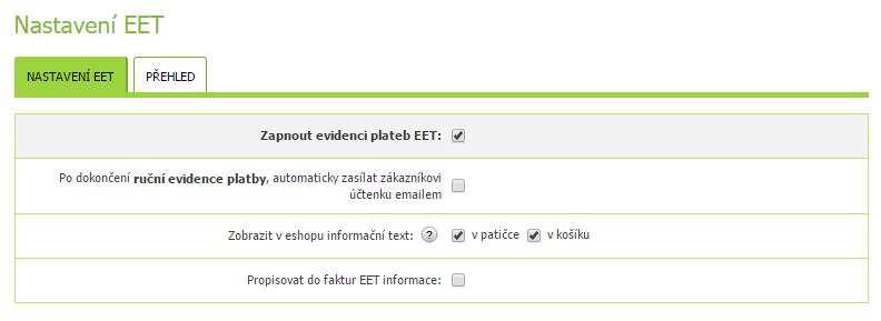 Informační oznámení k EET na e-shopu