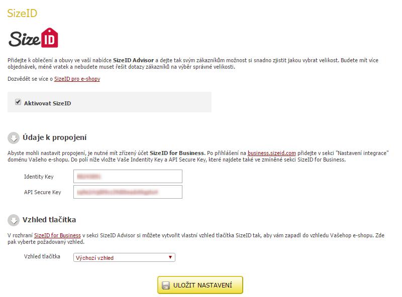 Ukázka integrace SizeID v administraci Eshop-rychle