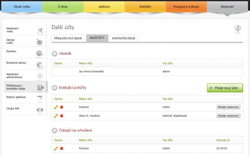 Multilogin v administraci Eshop-rychle - více účtů