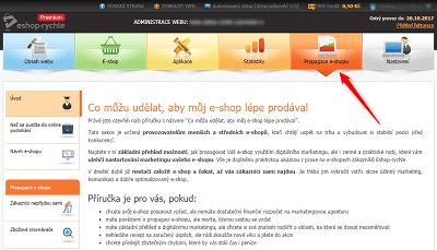 Propagace e-shopu - vzdělávací sekce administrace Eshop-rychle