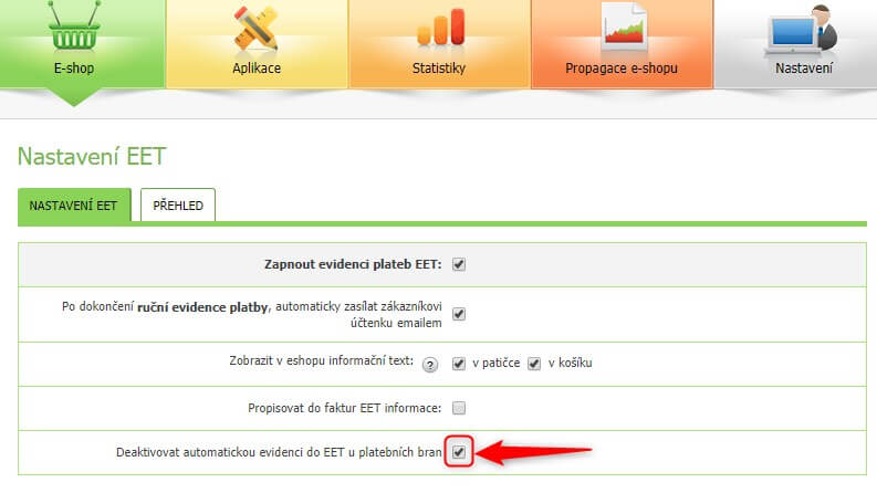 Deaktivace automatické evidence plateb kartou do EET - Administrace Eshop-rychle