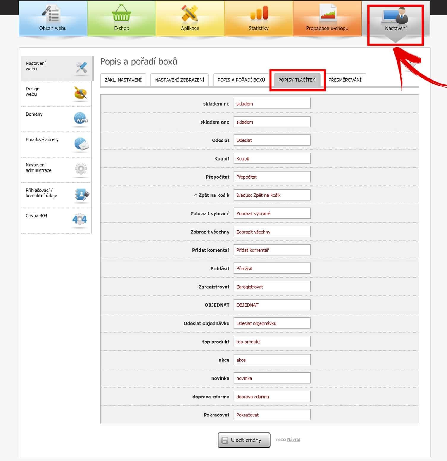 Nastavení popisů tlačítek v administraci Eshop-rychle