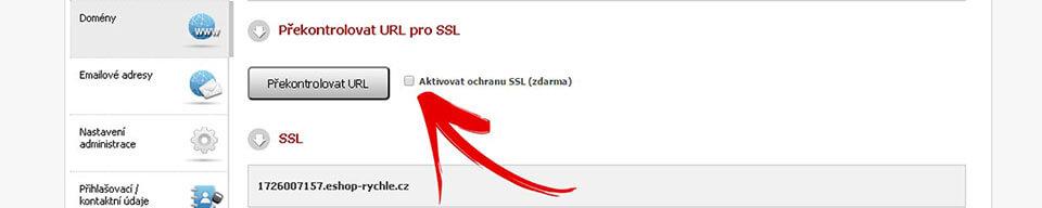 Vizualizace administrace eshop rychle_ktivace SSL certifikátu