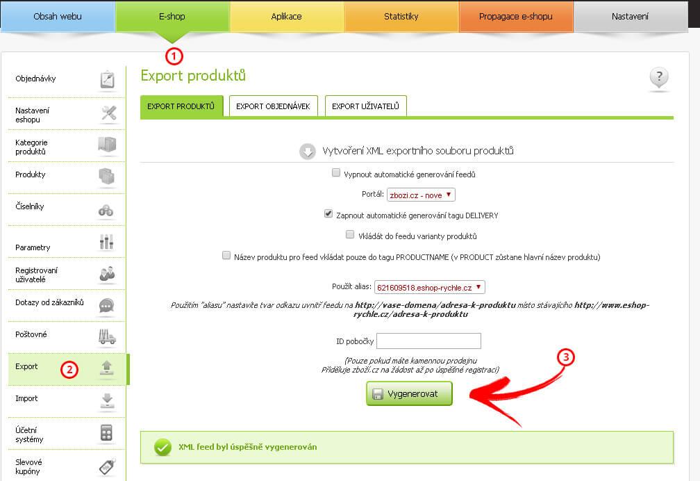 Generování XML feed Eshop rychle admiistrace