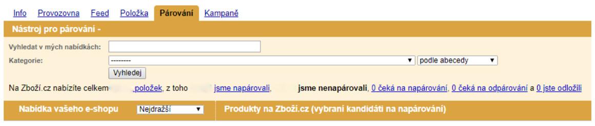 Parovani zbozi.cz