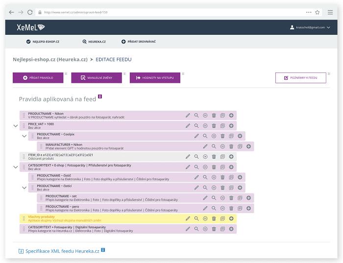Administrační prostředí nástroje Xemel
