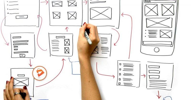 Ruční skica UX design e-shop