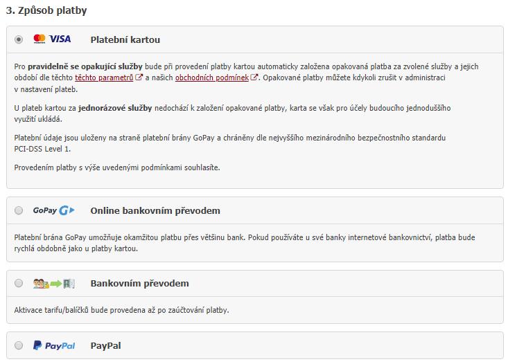 Způsoby platby za služby Eshop-rychle - nově automatické inkaso z platební karty
