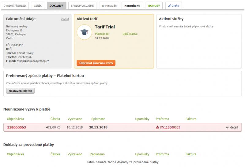Přehled zaplacených dokladů - administrace Eshop-rychle