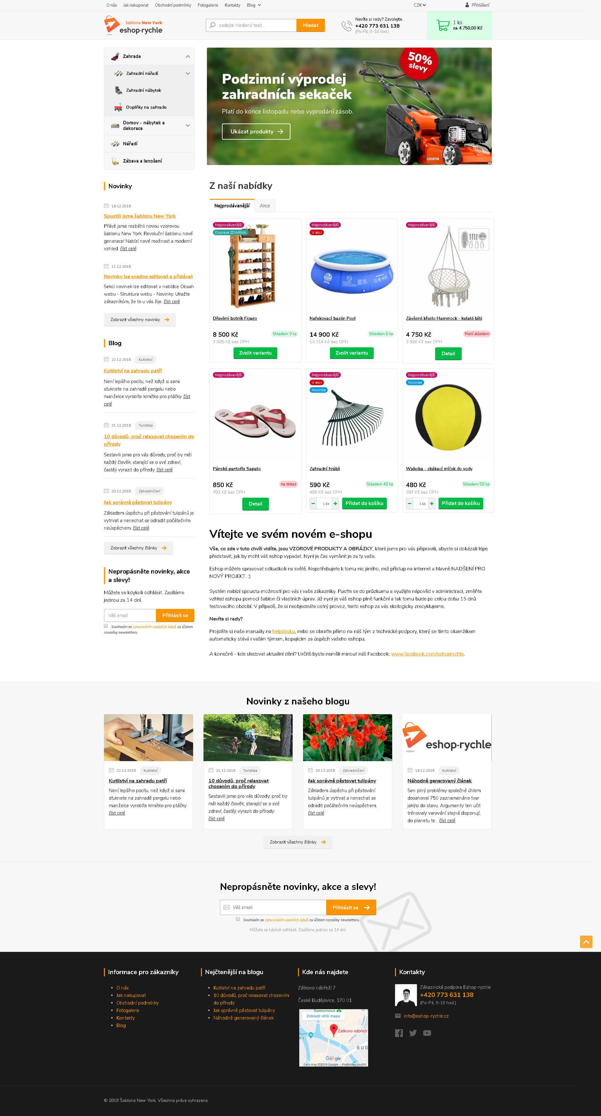 Nová revoluční e-shopová šablona New York Eshop Rychle