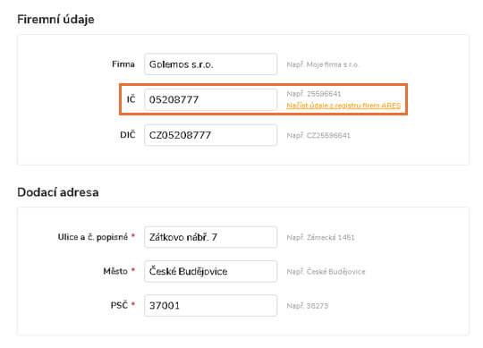 Automatické doplňování adres v objednávce