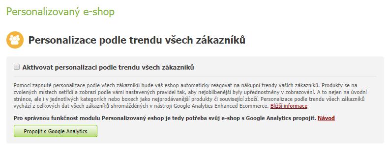 Personalizace podle trendu všech zákazníků - Eshop-rychle