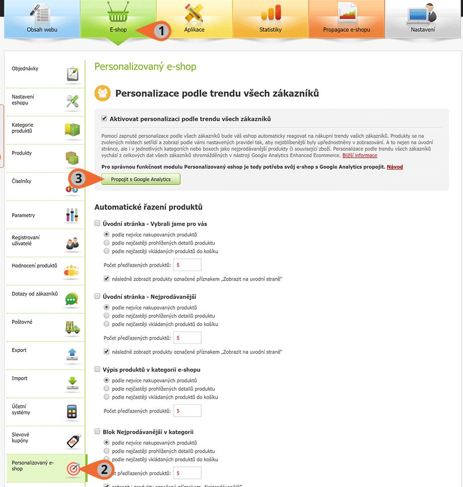 Administrace eshopu_propojení Personalizovaný e-shop a Google Analytic