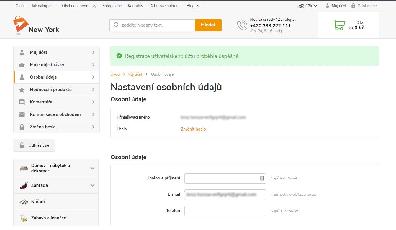 Registrace zákazníka